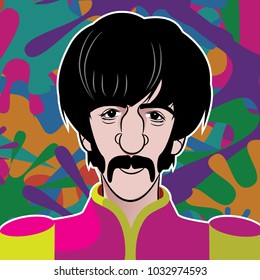 FEBRUARY 25 2018: Illustration of Beatle Ringo Starr in military uniform with psychedelic colors. EPS10 vector illustration.
