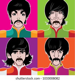 FEBRUARY 25 2018: Illustration of the rock group The Beatles. Paul McCartney, John Lennon, George Harrison and Ringo Starr  in military uniform with psychedelic colors. EPS10 vector illustration.