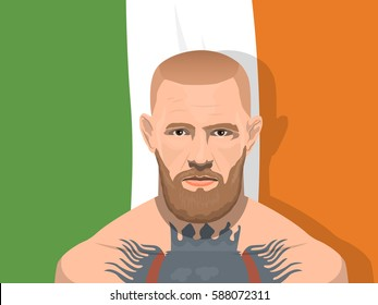 February 26, 2017: vector illustration Conor McGregor who is an Irish professional MMA fighter on Irish flag background.