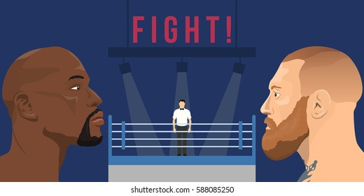 February 26, 2017: vector illustration of Conor McGregor - an Irish professional MMA fighter and Floyd Mayweather Jr. - an american professional boxer and boxing promoter on boxing ring background.