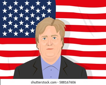 February 26, 2017: vector illustration of the Steve Bannon portrait on the USA flag background who is the assistant to the USA President and the chief strategist in the Trump administration.