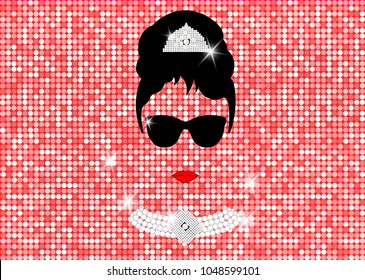February 26, 2018: Graphic representation of Audrey Hepburn's portrait. Editorial use only