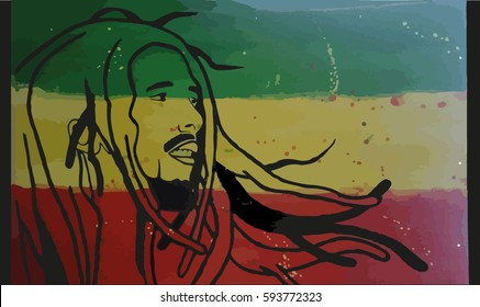 February 27, 2017: Bob Marley vector illustration