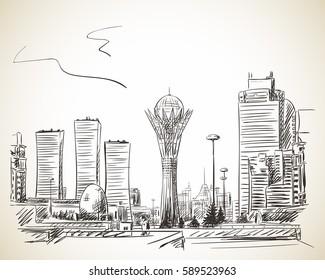 February 28, 2017: Bayterek Tower in Astana. Symbol of Kazakhstan, Hand drawn vector illustration