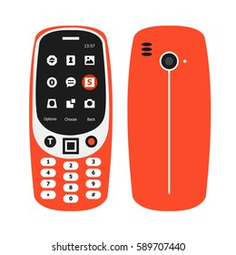 FEBRUARY 28, 2017: Front Side and Back Side New Orange features Mobile Phone Vector.