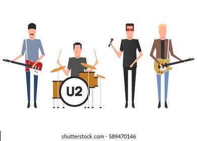 February 28, 2017: vector illustration of the U2 band members Bono, the Edge, Adam Charles Clayton and Larry Mullen Jr. playing the musical instruments on white background.