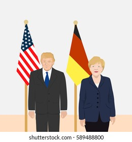 February 28, 2017: vector illustration of the USA President Donald Trump and the Chancellor of Germany Angela Merkel on the USA and Germany flags background.