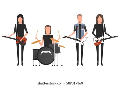 February 28, 2017: vector illustration of Metallica band members James Hetfield, Lars Ulrich, Kirk Hammet and Robert Trujillo playing the musical instruments on white background.