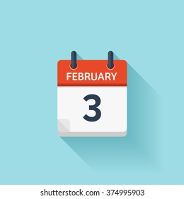 February 3.Calendar icon.Vector illustration,flat style.Date,day of month:Sunday,Monday,Tuesday,Wednesday,Thursday,Friday,Saturday.Weekend,red letter day.Calendar for 2017 year.Holidays in February.