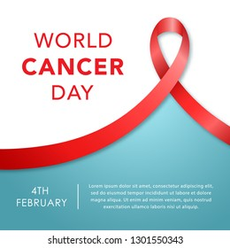 February 4, World Cancer Day banner. Awareness ribbon. Vector illustration.