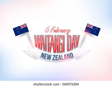 February 6, Waitangi Day, New Zealand Background, Flag Illustration and Vector Elements National Concept Greeting Card, Poster or Web Banner Design
