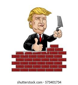 february 7, 2017 . Caricature Donald Trump Build A Wall