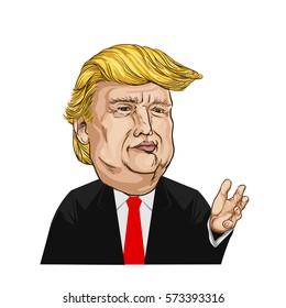 February 7, 2017, Cartoon Portrait of Donald Trump