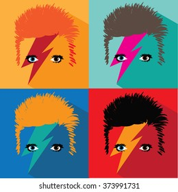 FEBRUARY 8, 2016: David Bowie pop art illustrative editorial. EPS 10 vector.