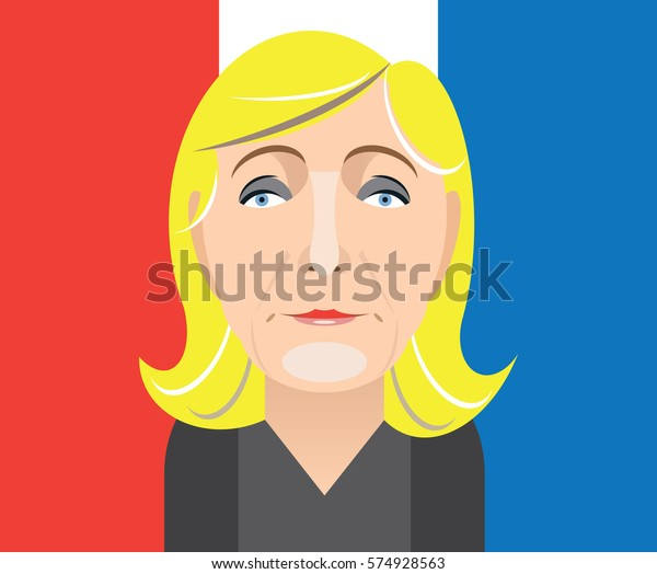 February 9, 2017: A vector illustration of a portrait of French presidential candidate Marine Le Pen