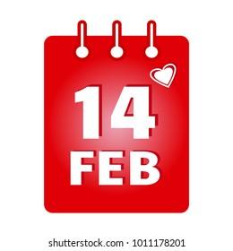 February calendar colored icon. Saint Valentine's Day. Vector illustration
