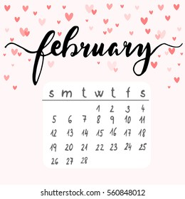 February calendar with hearts, vector illustration