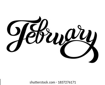 February - cute handwritten modern black outline name of month of the year in english isolated on a white background. Cute12 months lettering for graphic design, calendar template, education, mockup.