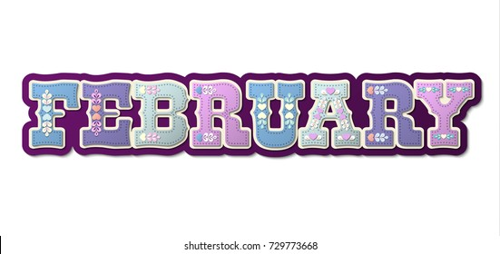 February, illustrated name of calendar month on white background, vector illustration, eps 10 with transparency