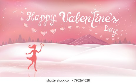 February landscape and fairy magical with lettering happy valentines day. Background with snowflakes and hearts. Cartoon design in natural style for holidays and love festivals.
