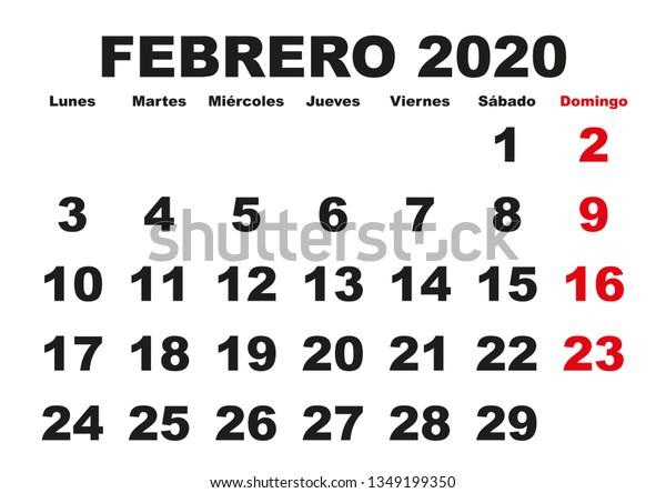 Calendario 2020 Gratis Con Foto.February Month Year 2020 Wall Calendar Stock Vector Royalty