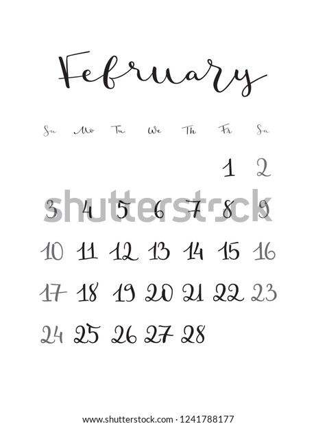 February Calendar 2019.February Monthly Calendar 2019 Year Handwritten Stock Vector