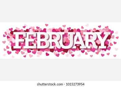 February Single Word With Hearts Banner Vector Illustration 1