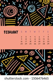 February. Vector colorful monthly calendar for 2020 year with abstract marker doodle. Editable template A5, A4, A3 size, can be printed and used as a desk, table or wall calender for your schedule