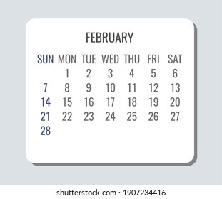 February year 2021 vector monthly plain minimalist simple light calendar. Week starting from Sunday.