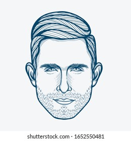 February,2020 : Line Art Portrait of Adam Levine. American Musician,Singer,Songwriter,and The Lead Vocalist for The Pop Rock Band Maroon 5.