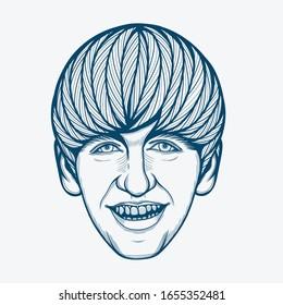 February,2020 : Line Art Portrait of Ringo Starr. English Musician,Drummer,Singer,and Songwriter.
