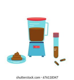 Fecal microbiota transplant equipment. Stock vector illustration for disease treatment with bacteria and microorganisms from donor stool.