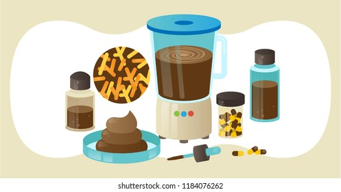 Fecal microbiota transplant (FMT) or stool transplant procedure equipment, vector illustration laboratory objects collection. Collecting and processing healthy fecal bacteria. Stool samples and pills.