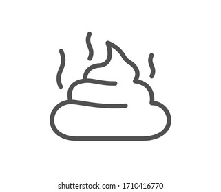 Feces line icon. Pets excrement sign. Poop or turd symbol. Quality design element. Editable stroke. Linear style feces icon. Vector