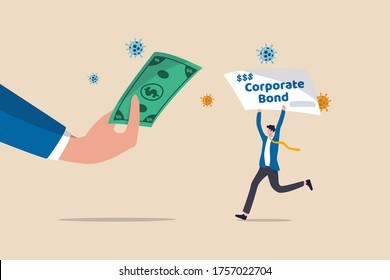 Fed Federal Reserve buying corporate bonds to support liquidity after Coronavirus COVID-19 economic crisis concept, FED Central bank hand holding US banknote with businessman holding corporate bond.