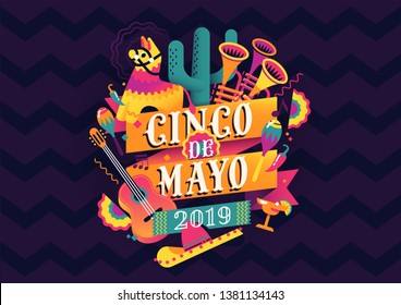 Federal Mexican holiday Cinco de Mayo or 5 of May celebration vector background. Ideal for Mexican themed parties flyers, banners and social media posts