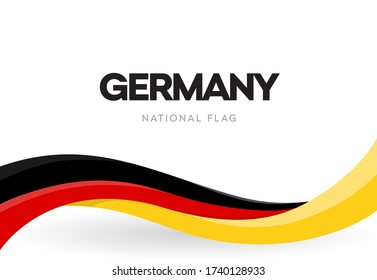 The Federal Republic of Germany waving flag banner. German patriotic red, yellow and black ribbon poster.  German Unity day anniversary brochure.National public holiday celebration vector illustration