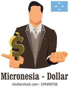 Federated States of Micronesia national currency United States dollar symbol representing money and Flag. Vector design concept of businessman in suit with his open hand over with currency in EPS10.