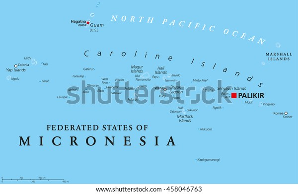 Foderierte Staaten Von Mikronesien Politische Karte Stock