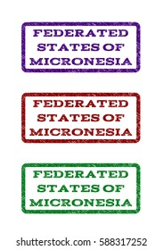 Federated States Of Micronesia watermark stamp. Text caption inside rounded rectangle with grunge design style. Vector variants are indigo blue, red, green ink colors.