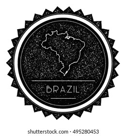 Federative Republic of Brazil Map Label with Retro Vintage Styled Design. Hipster Grungy Federative Republic of Brazil Map Insignia Vector Illustration. Country round sticker.