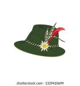 Fedora Felt Hat with Edelweiss and Feather. Alps hunting, Oktoberfest German Alpine hat hand drawn cartoon. Stylish retro headwear design element. Traditional Tirol hunter clothing vector illustration