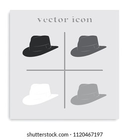 Fedora hat flat black and white vector icon.