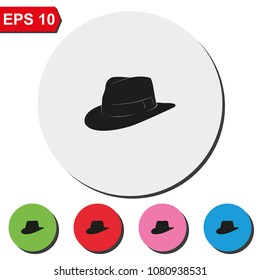Fedora hat flat round colorful vector icon.