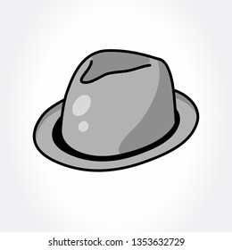 Fedora hat. Gray hat.