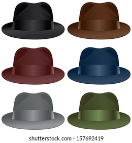 A fedora hat selection in black, gray, burgundy, olive, blue and brown colors.