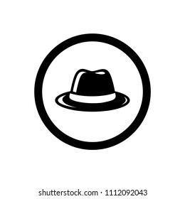 Fedora Hat Symbol, and Circle Outline, Icon Concept, Vector Logo Design