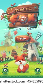 Feed the fox GUI - cartoon stylized vector illustration mobile format window with fox, play and options buttons.