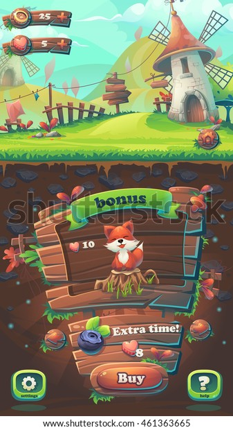 Feed the fox GUI match 3 buy window - cartoon stylized vector illustration mobile format  with options buttons, game items.