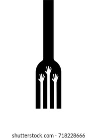 Feed the Poor. Fork with hands. Hunger Prevention Concept. Anti-Hunger logo. EPS 10